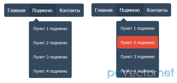 Горизонтальное выпадающее меню на css html